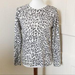 Kim Rogers Leopard Print Long Sleeve Top Size S